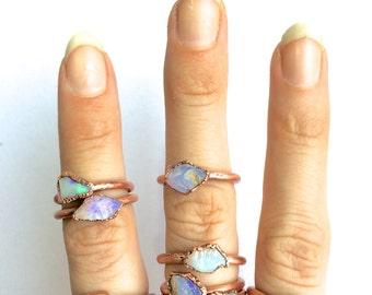 Raw opal ring | Australian opal ring | Rough opal ring | Raw Australian fire opal jewelry | Rough opal ring | Rough Australian opal ring