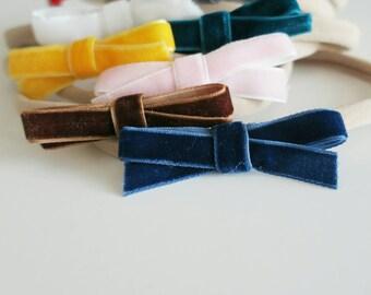 Velvet hair bows, dainty hair bows,newborn bows, solid color velvet bows, baby bows, tiny baby bows, headband bows, velvet fabric bows