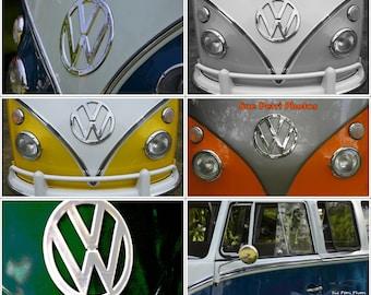 Vw Bus Photo Set, 6 vw van photos, volkswagen van photos, vw van prints, vw bus prints, classic vw van, vw bus print set, car photography