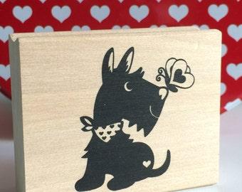 SCOTTIE DOG Stamp Scottish Terrier Schnauzer Heart Scarf Butterfly Wood Mounted Rubber Craft Valentine Gift Valentines Day Cards Card Crafts