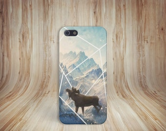 Moose Mountains Snow Phone Case, Anima, Nature iPhone 6 iPhone 6 Plus Tough iPhone Case, Galaxy s9, Samsung Galaxy Case, Note 8, CASE ESCAPE