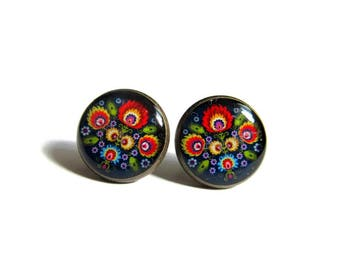 FOLK STUD EARRINGS - Polish Folk Jewelry - Folk Flowers Earrings - Post Earrings