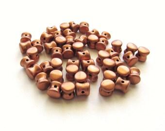 Matte Metallic Copper Czech Glass Pellet or Drum Beads, 6mm - 50 pieces