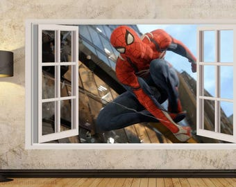 Superman Marvel Hero 3D Window Effect Wall Sticker Art Mural Decal 103A