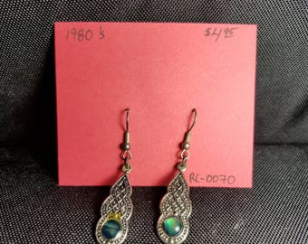 Earrings silver and mother of pearl ear wire dangles