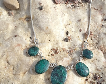 Sterling silver Malachite- Eilat stone necklace