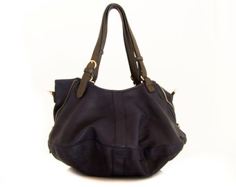 Handmade vegan leather bag purse blue -  the Leah - new collection - 20%  launch discount