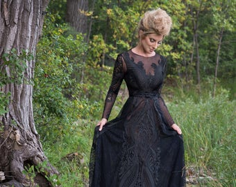 Black Formal Gown, Black Dress, Black and Gold Dress, Embelished Dress, Bridesmaide Dress
