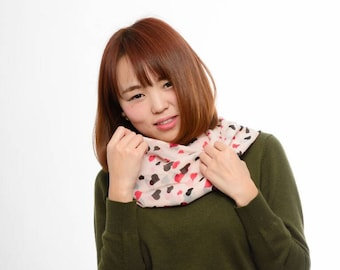 Heart Infinity Scarf - Heart Wrap Scarf - Soft Chiffon Scarf - Pink Scarf - Female Scarf - Women wrap scarf - Gift Idea - Gift for Her -