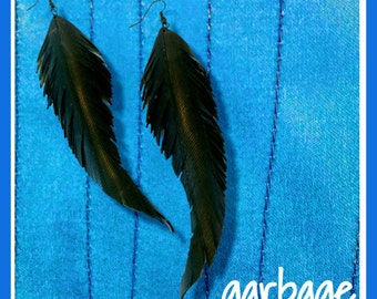 Long Raven Feather Cruelty-Free Earrings