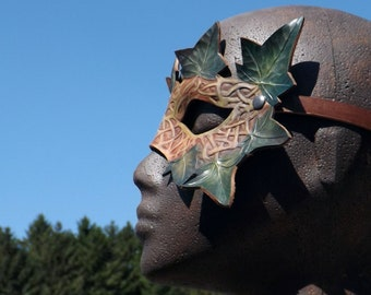 Green Man Mask with Ivy Leaves - Handmade in Leather