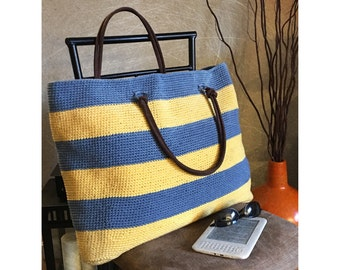 Crochet Large Stripes Tote - Shirt Yarn