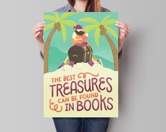 UPDATED! The Best Treasures Can Be Found in Books - Illustrated Classroom Reading Poster