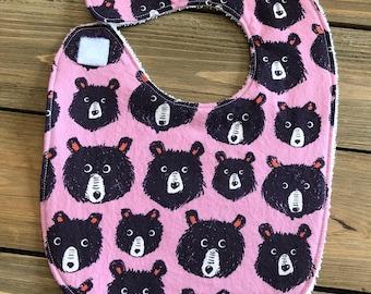 Baby Bib - Teddy and the Bears Lilac Print - Baby Shower Gift - Cotton Bib - Teddy Bear Bib