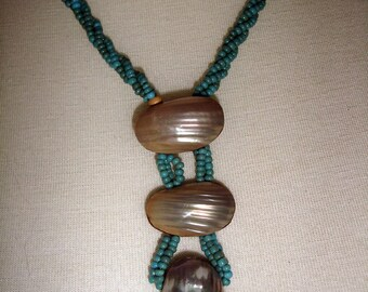 Mother of pearl, wood and aqua seed beads necklace