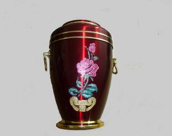Metal Cremation Urn for Ashes with A Beautiful Rose Emblem