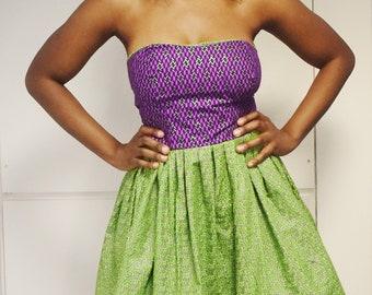 Strapless Ankara Flared Corset Dress
