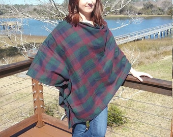 Plaid washable wool poncho