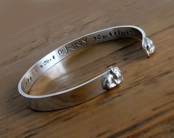 Personalised Silver Bangle with Rabbits, Personalised Narrow Bangle with Bunnies, Bracelet with Message, Valentines Gift, Rabbit Jewellery