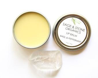 Basil & Peppermint Lip Balm - Organic Lip Balm - Vegan Lip Balm - Organic Skin Care - Natural Skin Care - Mint Balm - Eco Friendly Skin Care