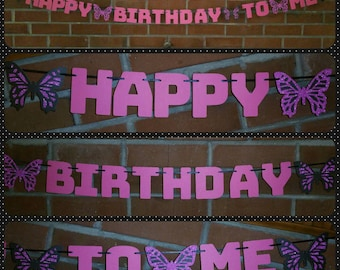 Happy Birthday to Me Banner - Black and Pink Birthday Banner - Quinceanera Banner - Butterfly Banner - Pink Birthday Banner - Sweet Sixteen