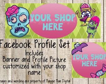 Zombie Brain Facebook Set, Facebook banner, Facebook graphics, Facebook cover photo, store graphics, timeline set, Zombie Food, Bat, Candy
