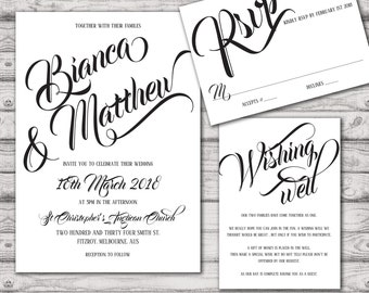 Calligraphy Modern Wedding Invitation Suite - Print at Home Files or Printed Invitations - Personalised Wedding Invite Suite