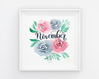 November lettering with watercolor flowers, download, print template, printable, 21 x 21 cm, calendar, square, painting, seasonal