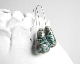 Ceramic earrings,Handmade earrings,Silver wire,Ceramic drops,Jewelry.Original earrings,Ceramic jewelry,Drops,Ceramic house,gift,Turquoise,