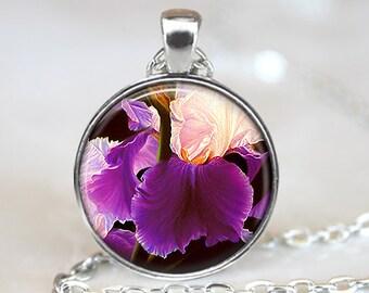 Iris Art Pendant, Iris Botanical Pendant, Flower Necklace, Iris Jewelry, Purple Iris Pendant, Bronze, Silver, Purple Flowers Pendant 251