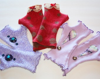 Fingerless gloves made from recycled fabrics and upcycled clothing OOAK hand-made custom arm warmers by UpLove Creations