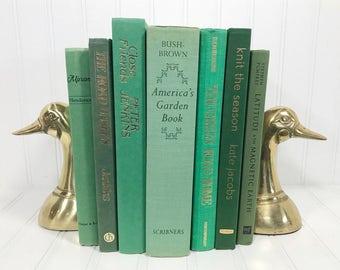 Green Decorative Books for Shelf Decor, Spring Decor
