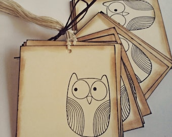 Owl gift tags, Owl tags, Favor tags, Gift tags, Set of 15