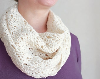 Crochet scarf for woman Scarf boho Scarf snood infinity scarf White scarf Loop scarf White snood cotton Gift daughter gift Birthday gift Mom