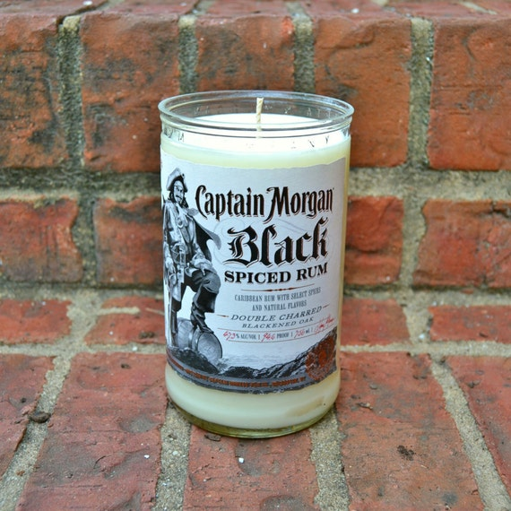 Captain Morgan Black Spiced Rum Bottle Candle made with soy wax