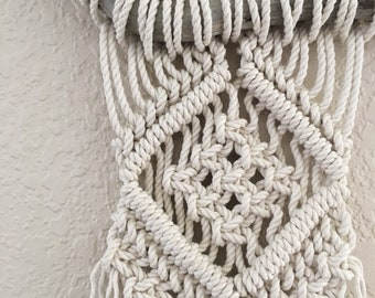 Small macrame wall hanging from driftwood
