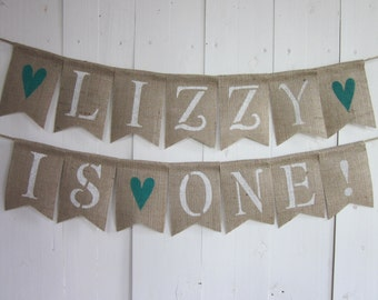 First Birthday Banner - Custom Name Birthday Banner - 1st Birthday bunting - Birthday Photo PropGarland - Personalized Party Backdrop