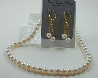 Classic White Pearl Necklace and Earring Set