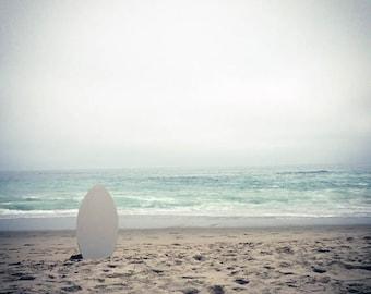 White Board- 12 x 12 Beach Photograph - Seascape - Ocean Scene - Surreal Scene - Skimboard - Surf