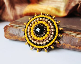 Bead embroidery Brooch Beadwork Brooch Yellow Gold Black Brooch Onyx Brooch Cabochon Brooch Bead embroidered jewelry MADE TO ORDER