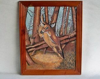 Vintage Framed Felt Painting - Jumping Deer in the Woods