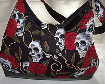 Handmade rockabilly skulls and roses handbag