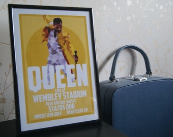 Queen Reproduction 'Live at Wembley 1986' A4 Music poster print - NOT FRAMED