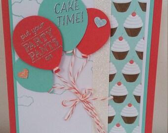 Party Pants balloons and cupcakes aqua / coral handmade card