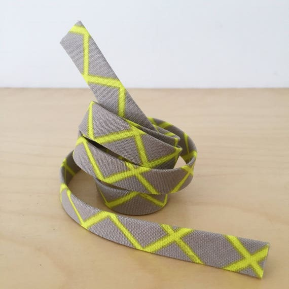 "Bias Tape in Cotton + Steel Moonlight neon yellow grid on gray cotton 1/2"" double-fold bias tape- 3 yard roll"