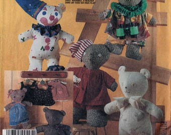 Vintage 1980s McBear Stuffed Teddy Bear Dolls and Wardrobe Clothes Sewing Pattern by Marti Michell McCall's 2629 UNCUT