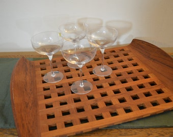 Vintage Dansk Danish Modern Teak Serving Tray - Dansk IHQ Large Lattice Tray - Teak -  Made in Denmark - Modern Wood Serving Tray