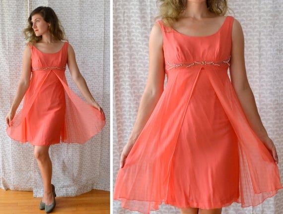 Mango Tango Dress | vintage 60's coral silk chiffon mini cocktail dress | small