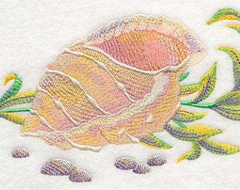 Watercolor Sea Shell Version A Embroidered Flour Sack Hand/Dish Towel