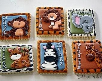 Zoo Animal Cookies, Jungle Animal Cookies, Safari Animal Cookies, Monkey, Lion, Elephant, Tiger, Zebra, Giraffe - 1 Dozen